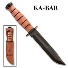 KaBar USMC Utility Knife Non Serrated Leather Sheath Made in USA | eBay $69.99