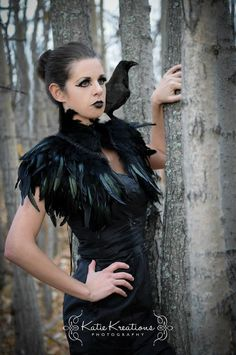 Feather high collar capelet or sharp shoulders wrap by MetamorphDK, $120.00