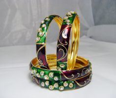 Buy GREEN MAROON BRASS BANGLE at Rs. 298.00 only.. visit here- http://shwetajewelry.com/product/green-maroon-brass-bangle/