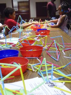 Straws and Pipe Cleaners at School Family Math Night