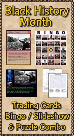 This Black History Month combo pack contains the deck of 54 trading cards, the Bingo/Slideshow (PC & Mac) software with 40 bingo cards, two crossword puzzles and two word searches. Bonus features include additional games, directions for making trading cards, and instructions to make your PowerPoints talk. ($)