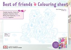 Free downloadable My Little Pony Colouring Sheet for kids - DK Activity Sheets For Kids, Coloring Sheets For Kids, Twilight Sparkle, Fluttershy, Rainbow Dash, Colouring, My Little Pony, Have Fun, Best Friends