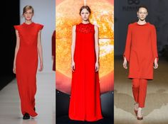 Red Scarlet fever is in the air. Bold shades of red appear in monochromatic looks, or with pops of black or white. Red is always great for colorblocking.  Poustovit, Arsenicum, Elenareva