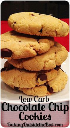 #bakingoutsidethebox | This Low Carb Chocolate Chip Cookies Recipe makes great soft cookies. Almond flour & 60% chocolate chips keep the cookies to 3.5 net carbs per cookie.