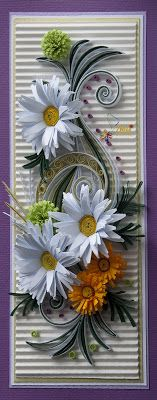 neli: Quilling card - flowers ( 9 cm - 20 cm ) I would love to be able to do this. The crimped background is a great idea.