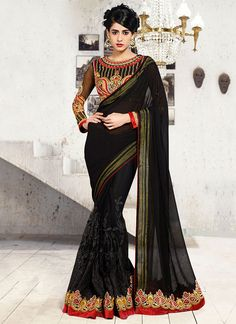 Black Georgette N Net Half N Half Saree