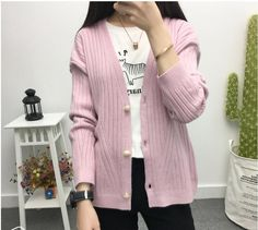 Cheapest Sweaters FashionPure Cardigan Sweater Candy Color Recreational Sweater Purple