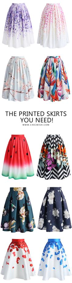 The printed skirts you need this summer! Find more at chicwish.com