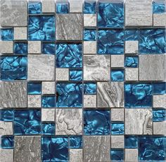 "This is our new design marble glass tile, we name this tile ""Stone Age"". It is magic design with blue crystal glass and grey marble stone. we polish the surface of the marble to make it glossy, the blue glass chips make your whole room look more interesting. The general sizes for these stone mosaic chips are 15  x 15  mm squared, 48 x 48 mm. Each sheet of the tile is approximately 12 x 12 Inches and mesh mounted, non-sanded grout for installation. It's used for home Glass Mosaic Tile Backsplash, Backsplash Ideas, Mosaic Glass, Sanded Grout, Magic Design, Stone Age, Marble Stones, Stone Mosaic, Blue Crystals"