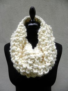 cowl knitted white merino wool  the Sensei by TRACCE on Etsy, $49.00