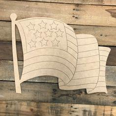 American Flag DIY, Unfinished Wood Cutout, Paint by Line Unfinished Wood Crafts, Wooden Crafts, Wooden Cutouts, Wooden Shapes, American Flag Painting, Door Hanger Template, Wood Craft Patterns, Into The Woods, Wooden Door Hangers