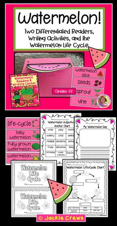 This 29 page product is a LOW PREP differentiated reading and writing product for early readers that can mixed and matched as you wish.   The first watermelon book with multiple choice questions (two answer choices) for your low readers. Included with this little book is a descriptive writing page, a graphic organizer, and writing prompts. Graphics are mostly blackline so that kids can color in the watermelons.  I also created watermelon life-cycle reader with its own supporting materials.