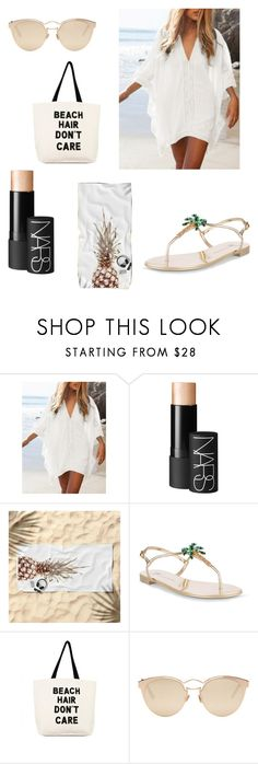 """""""Beach Days #2"""" by nynkeblankenstijn ❤ liked on Polyvore featuring NARS Cosmetics, Giuseppe Zanotti, Fallon & Royce and Christian Dior"""