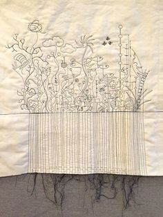 Work in progress on Colony of Influences, Paula Kovarik Free Motion Embroidery, Free Machine Embroidery, Free Motion Quilting, Embroidery Art, Machine Quilting, Thread Art, Thread Painting, Textile Fiber Art, Textile Artists