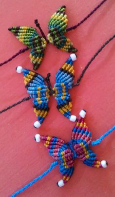 Micro macrame Butterflies can be used on bracelet, anklet, necklace or hair clip. Take 30-40 mins to make, AUD10 each.
