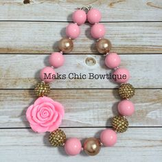 Children's Pink and Gold Chunky Rose necklace, Kids Bubblegum Pink chunky necklace, Princess chunky necklace, Flower girl Chunky necklace by MaksChicBowtique on Etsy https://www.etsy.com/listing/203662501/childrens-pink-and-gold-chunky-rose