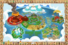 A map of the Mushroom Kingdom, includes SMB1, SMB3, SMW, Yoshi's Island, SMRPG and Mario Kart.