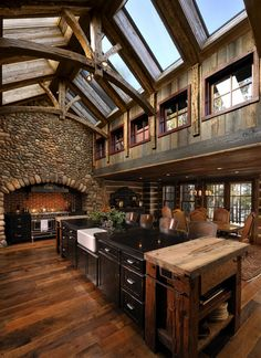 Log Cabin Interior Design: 47 Cabin Decor Ideas Berghaus with rustic wooden kitchen Rustic Kitchen Design, Wooden Kitchen, Rustic Kitchens, Kitchen Designs, Kitchen Ideas, Rustic Homes, Rustic Design, Stone Kitchen, Barn Kitchen