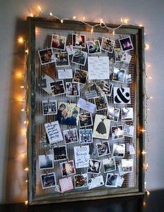 30+ Fotowände und Fotocollagen Ideen - Fotowand mit Lichterkette