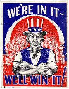 We're in It We'll Win It Original World War II Poster Uncle Sam