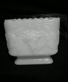 White Milk Glass Square Vase Planter With Grape & Leaf Design #milkglass