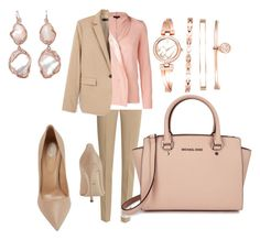 """""""Rose and beige"""" by mercedes-acosta-benitez on Polyvore featuring Michael Kors, Sergio Rossi, ESCADA, MANGO and De Buman"""