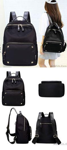 Fashion Black Rose Simple Nylon Splicing PU Rivets Waterproof School Backpack for big sale! #rose #black #fashion #pu #rivet #school #Backpack #bag #college #student #rucksack #travel #cute #girl