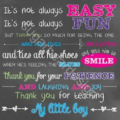 Thank You Gift Boy's Teacher PRINTABLE by SugarBearDesign on Etsy