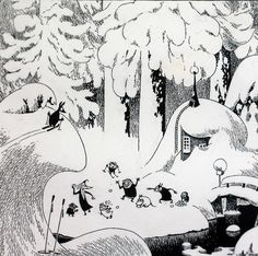 Tove Jansson black and white Moomin ink illustration. Now that's what I call winter Art And Illustration, Black And White Illustration, Ink Illustrations, Tove Jansson, Graphic, Painting & Drawing, Art Reference, Troll, Fantasy Art