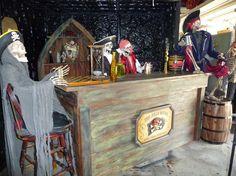 Prop Showcase: plain pirates pub by ThePirateHouse on Halloween Forum Pirate Halloween Decorations, Pirate Halloween Party, Pirate Decor, Halloween Forum, Halloween Moon, Pirate Theme, Halloween Skeletons, Outdoor Halloween, Halloween House
