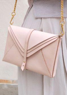 Handmade Blush Leather Envelope Clutch   HarLex on Etsy