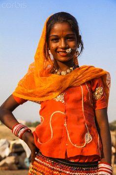India, Rajasthan. Pushkar, Girl at the Pushkar Camel Fair