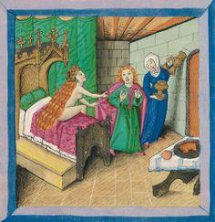 Universitätsbibliothek Augsburg, Cod.I.3.2.III f. 34v (Joseph and Potiphar's wife).  Furtmeyr-Bibel (c.1468-1470).