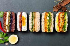 This Japanese onigirazu sandwich recipe is an easy Japanese sushi recipe. Make this Japanese rice sandwich recipe with tuna Rice Sandwich Recipe, Sushi Sandwich, Sandwich Recipes, Sushi Recipes, New Recipes, Nori Wrap, Japanese Food Sushi, Onigirazu, Food Concept