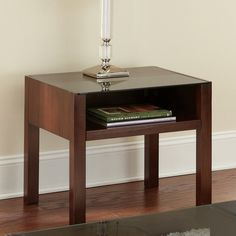 Steve Silver Lamar Rectangular Cherry Wood and Glass End Table - LM500E