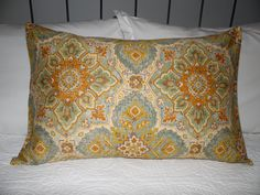 Adobe print pillow cover, sky blue, rust, gold, burnt yellows. envelope style, pillows, porch, sofa pillow, chair pillows Product ID# P0006 by GamGamzhandcrafted on Etsy