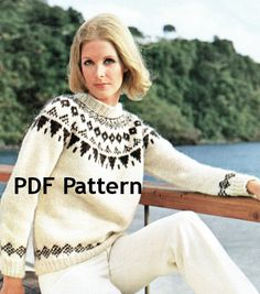 Vintage Icelandic Men and Womens Pullover Sweater Nordic Pattern Digital Download