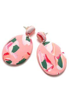 Salmon Pink Ink Drop Earrings