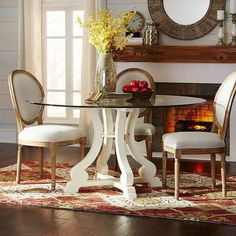 68202be1a9a0 Marchella Antique White Round Dining Table Base