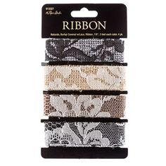"""7/8"""" Natural Burlap Ribbon Covered with Lace"""