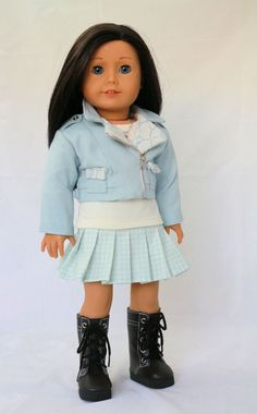 Light blue moto jacket and Pleated skirt outfit by NoodleClothing on Etsy. This outfit is made using the Liberty Jane Clothing Motorcycle Jacket pattern. Find the Motorcycle Jacket Pattern at http://www.pixiefaire.com/products/motorcycle-jacket-18-doll-clothes. #pixiefaire  #libertyjane  #motorcyclejacket
