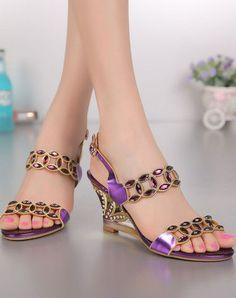 Chunky Heel Sandals Blue Diamond Studded Slingback Open Toe, Blue, G·Sharrow | VIPme #promshoesstrappy