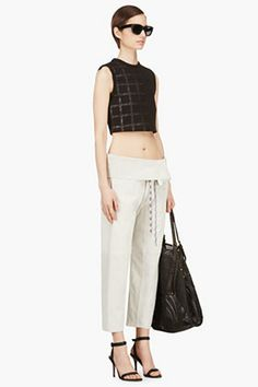 RAG & BONE Grey Suede Cinched Bangkok Trousers