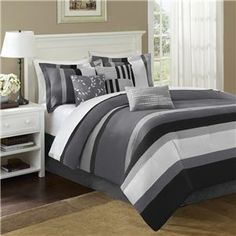 Madison Park Durango Stripe 7 Piece Comforter Set,On sale price: $118.99 for Conors room and add orange accents