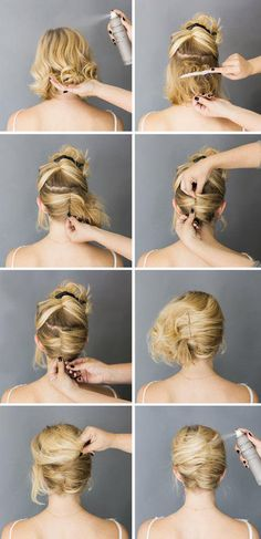 Easy short hair updo tutorial - http://goo.gl/qmkSFn