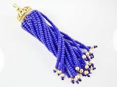 Long Royal Blue Beaded Tassel  22k Matte Gold by LylaSupplies, $10.00