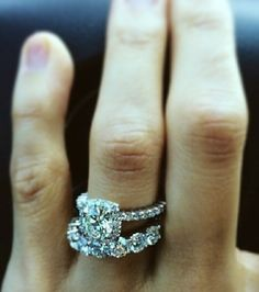 This wedding set except with a pear shaped engagement ring! It's perfect. Love the chunky eternity band and I like that the bands stand beautifully as individuals.