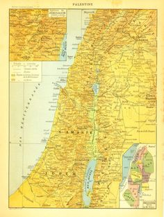 1910s Map of Palestine Jerusalem and Environs by CarambasVintage, $16.00