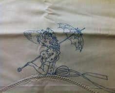 Vintage Stamped for Embroidery Pillowcase Set Southern Belle   eBay