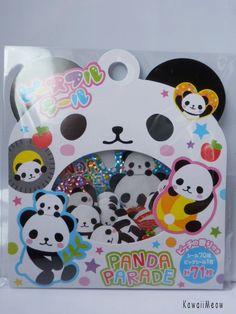 Kawaii Sticker Flakes - Pandas - (73826). $3.00, via Etsy.